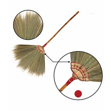 Load image into Gallery viewer, Hand Embroidered Flower Soft Grass Brooms with Bamboo Stick Handle 40 Inch Length - Meraki Cole Company