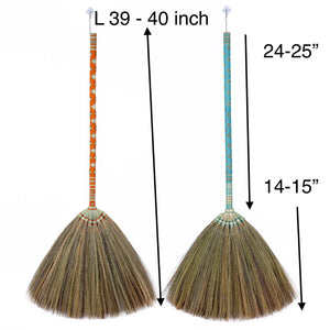 Thai Pattern Broom Authentic Asian Natural Grass Broom 40 Inch Length - Product Length - Meraki Cole Company