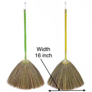 Thai Pattern Broom Authentic Asian Natural Grass Broom 40 Inch Length - Product Width - Meraki Cole Company