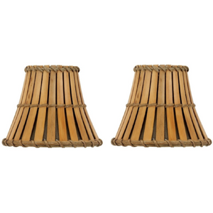 Natural Woven Bamboo Chandelier Lampshades (Set of 2) - Meraki Cole Company