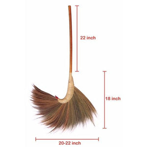 Thai Traditional Natural Witch Grass Broom 40 Inch Length - Product Size View - Meraki Cole Company
