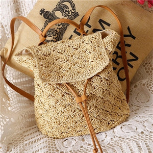 Women's Bohemian Straw Backpack - Color Beige - Meraki Cole Company