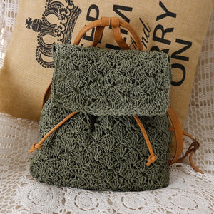 Women's Bohemian Straw Backpack - Color Green - Meraki Cole Company