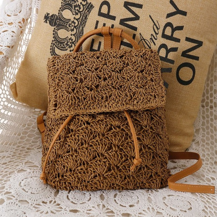 Women's Bohemian Straw Backpack - Color Brown - Meraki Cole Company