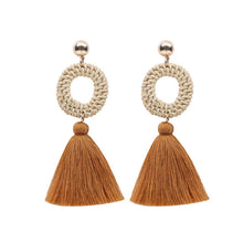 Load image into Gallery viewer, Circular Straw Rattan Tassel Earrings - Meraki Cole Company