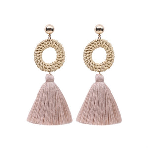 Circular Straw Rattan Tassel Earrings - Color Pink - Meraki Cole Company