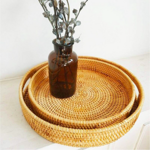 Handwoven Round Rattan Serving Trays with Handles (2 Piece Set)