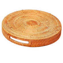 Load image into Gallery viewer, Handwoven Round Rattan Serving Trays with Handles (2 Piece Set)