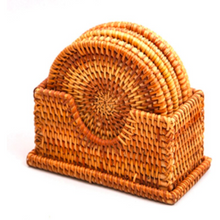 Load image into Gallery viewer, Handmade Round Rattan Coasters (Set of 6) - Meraki Cole Company