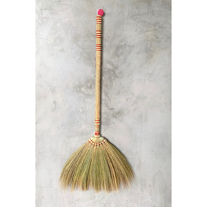 "2 Piece Adjustable Broom Asian Handmade Natural Grass Broom with Bamboo Handle 26 or 40 Inch Length - 40"" Length Product View - Meraki Cole Company"