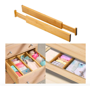 Bamboo Expandable Drawer Organizing Dividers (2 Piece Set) - Meraki Cole Company