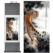 Load image into Gallery viewer, Asian Tiger Silk Art Painting - Meraki Cole Company