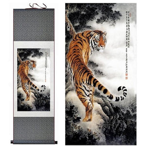 Asian Tiger Silk Art Painting - Meraki Cole Company