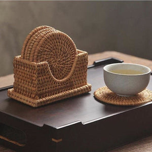 Handmade Round Rattan Coasters (Set of 6)
