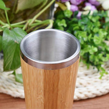 Load image into Gallery viewer, Bamboo Stainless Steel Insulated Travel Mug