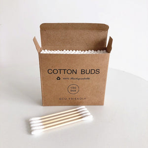 Double Head Bamboo Cotton Swabs (100 pcs.) - Meraki Cole Company