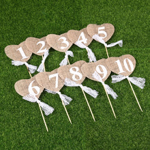 Load image into Gallery viewer, Jute Burlap Heart Shaped Banner Wedding Table Numbers (10 Pieces) - Meraki Cole Company