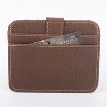 Load image into Gallery viewer, Natural Cork Snap Button Brown Slim Wallet - Meraki Cole Company