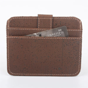 Natural Cork Snap Button Brown Slim Wallet - Meraki Cole Company