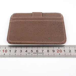 Natural Cork Snap Button Brown Slim Wallet