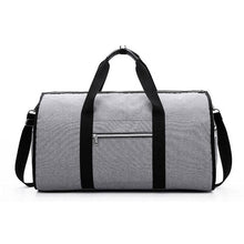 Load image into Gallery viewer, 2 in 1 Duffel Garment Bag - Color Gray Front View - Meraki Cole Company