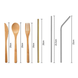 Reusable Bamboo Travel Utensil Set (3 to 7 Piece Sets)