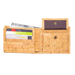 Eco-Friendly Cork Wallet for Men - Inside View with Change Pocket - Meraki Cole Company