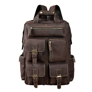 Mens Large Leather Travel Daypack - Meraki Cole Company