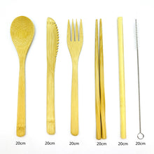 Load image into Gallery viewer, Bamboo Cutlery Travel Set with Bamboo Toothbrush & Case (9 Piece Set)