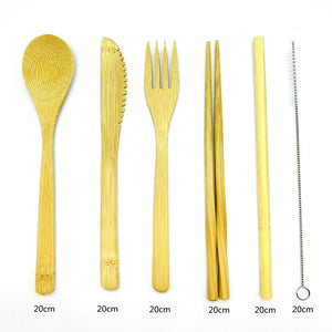 Bamboo Cutlery Travel Set with Bamboo Toothbrush & Case (9 Piece Set)