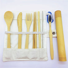Load image into Gallery viewer, Bamboo Cutlery Travel Set with Bamboo Toothbrush & Case (9 Piece Set) - Meraki Cole Company