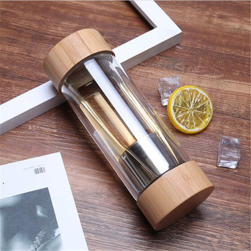 Travel Glass Water Bottle with Stainless Steel Tea Infuser Filter 300 ml - Meraki Cole Company