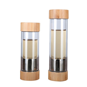 Travel Glass Water Bottle with Stainless Steel Tea Infuser Filter
