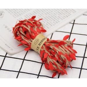 Jute Twine Rope Burlap Ribbon - Color Red - Meraki Cole Company