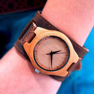 Bamboo Wide Design Wristwatch - Meraki Cole Company
