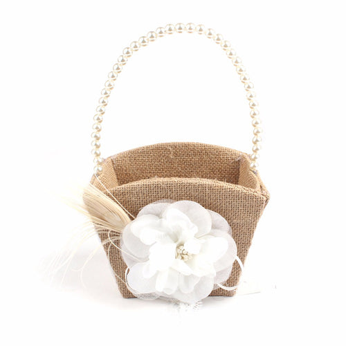Rustic Wedding Jute Flower Basket - Meraki Cole Company