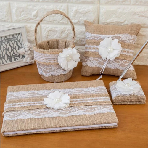 Burlap Wedding Guest Book Pen Set Ring Pillow Flower Basket Set (4 Pieces) - Meraki Cole Company