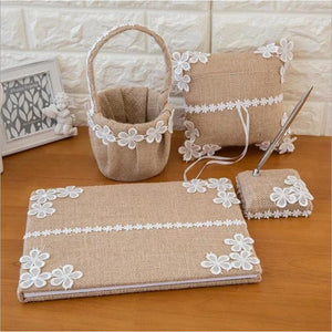 Burlap Wedding Guest Book Pen Set Ring Pillow Flower Basket Set (4 Pieces) - Style D - Meraki  Cole Company