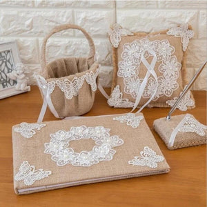 Burlap Wedding Guest Book Pen Set Ring Pillow Flower Basket Set (4 Pieces) - Style C - Meraki  Cole Company