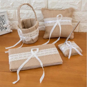 Burlap Wedding Guest Book Pen Set Ring Pillow Flower Basket Set (4 Pieces) - Style B - Meraki Cole Company