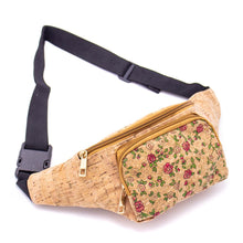 Load image into Gallery viewer, Cork Travel Belt Bag with Small Rose Pattern - Meraki Cole Company