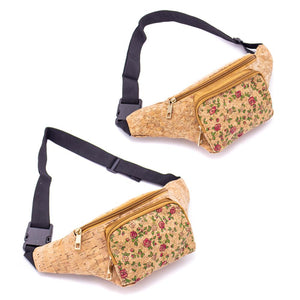 Cork Travel Belt Bag with Small Rose Pattern - Meraki Cole Company