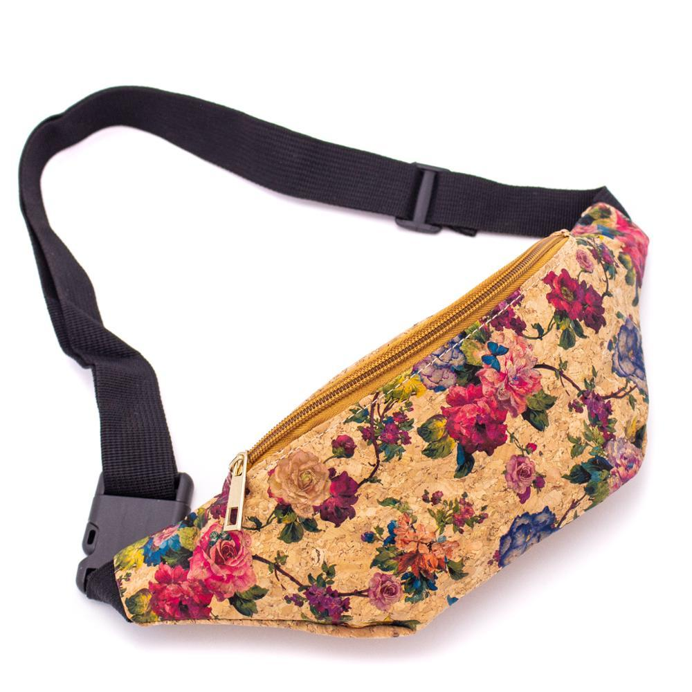 Cork Travel Belt Bag with Rose Print - Meraki Cole Company