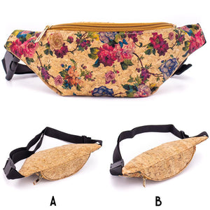 Cork Travel Belt Bag with Rose Print