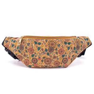 Cork Travel Belt Bag with Sun Flower Print - Meraki Cole Company