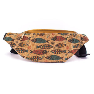 Cork Travel Belt Bag with Fish Print - Meraki Cole Company