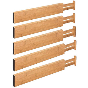 Bamboo Expandable Drawer Organizing Dividers (5 Piece Set) - Meraki Cole Company