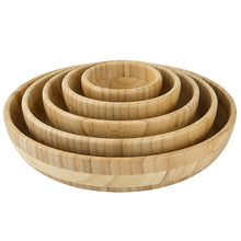 Load image into Gallery viewer, Natural Bamboo Wooden Salad Bowls - 5 Piece Set - Meraki Cole Company