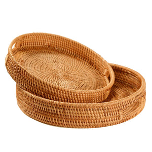 Handwoven Round Rattan Serving Trays with Handle (2 Piece Set) - Meraki Cole Company
