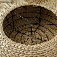 Load image into Gallery viewer, Straw Round Meditation Floor Cushion - Inside View - Meraki Cole Company